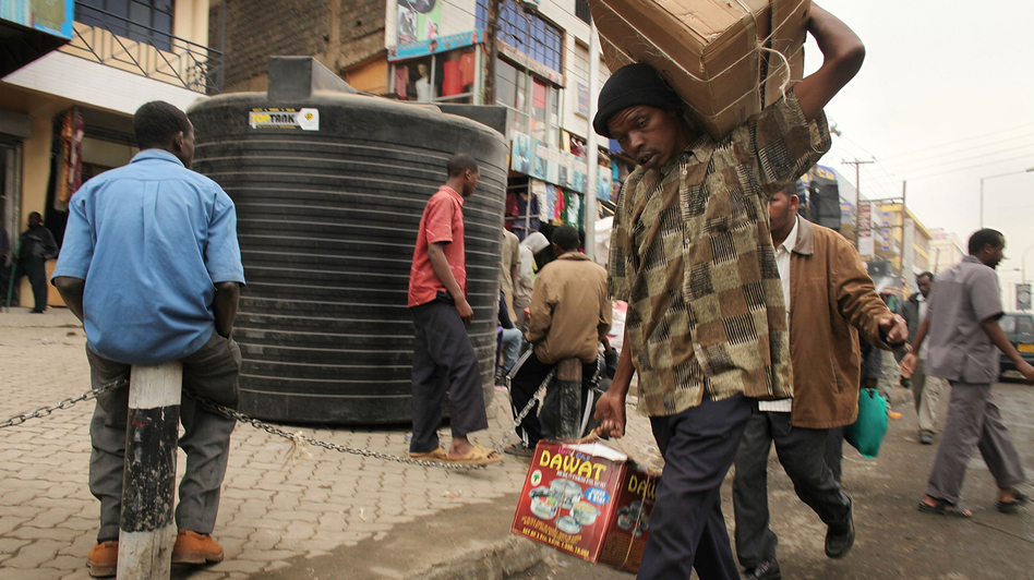 People walk down a market street in Eastleigh, a predominantly Muslim Somali neighborhood in Nairobi, Kenya, in 2009. The neighborhood has come under scrutiny as the U.S. cracks down on terrorism financing. (Getty Images)