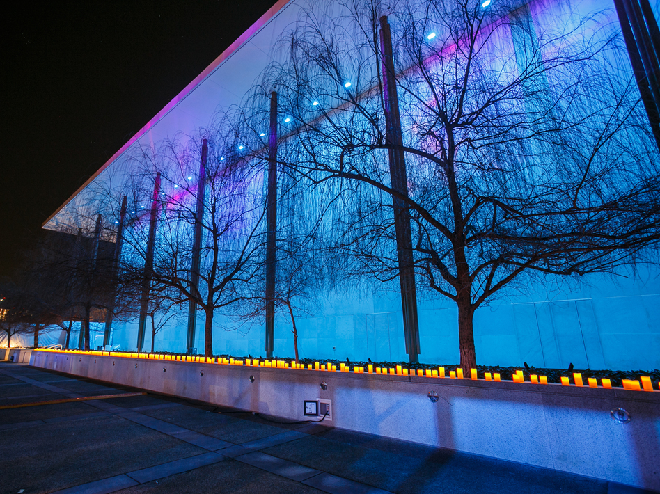 Northern Lights illuminate the Kennedy Center in Washington, D.C., during its monthlong festival, Nordic Cool 2013. The festival includes performances and exhibits from more than 750 artists. The exhibit runs through March 17. (Courtesy John F. Kennedy Center for the Performing Arts)