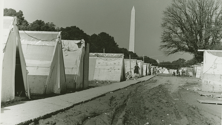 Resurrection City on the National Mall was an attempt by the Poor People's Campaign to bring attention to poverty in America. (SCLC records, MARBL, Emory University)