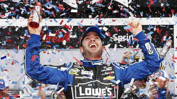 Jimmie Johnson celebrates in victory lane after winning the NASCAR Sprint Cup Series Daytona 500 at Daytona International Speedway on Sunday in Daytona Beach, Fla.