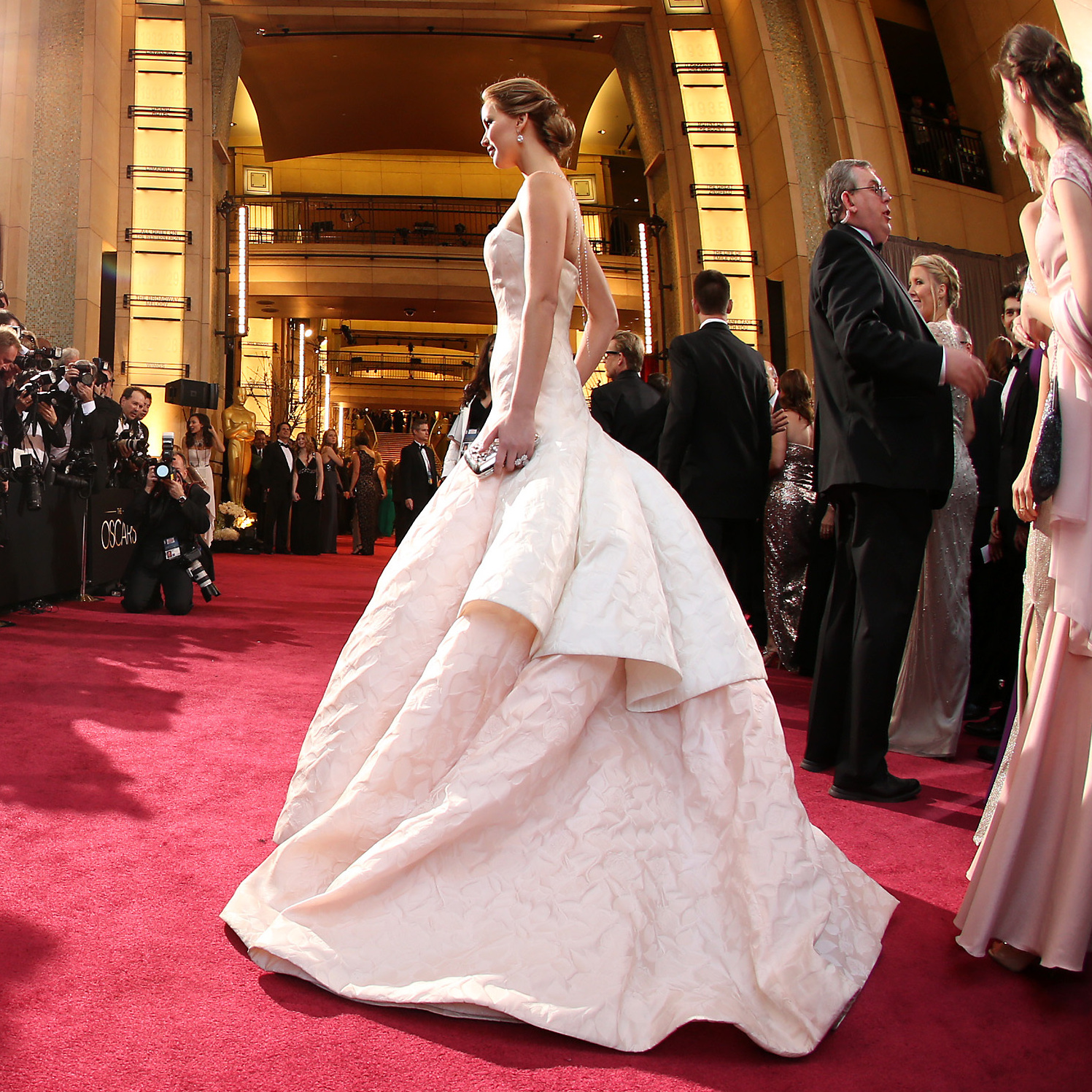 Actress Jennifer Lawrence arrives at the Oscars ceremony.