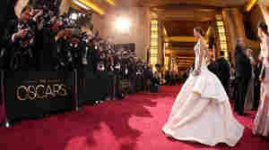 Actress Jennifer Lawrence arrives at the Oscars ceremony.