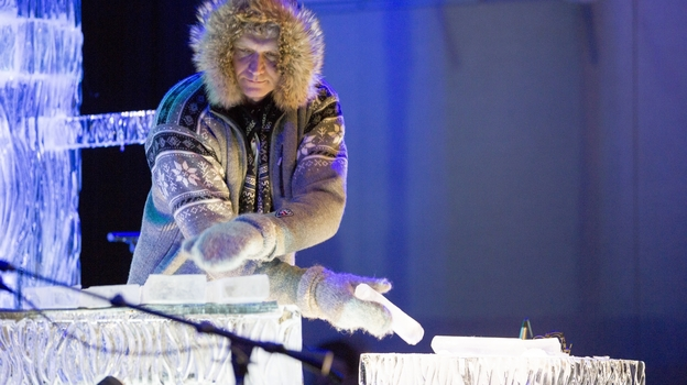 Ice musician Terje Isungset plays the ice blocks at the Kennedy Center in Washington, D.C. (Scott Suchman)
