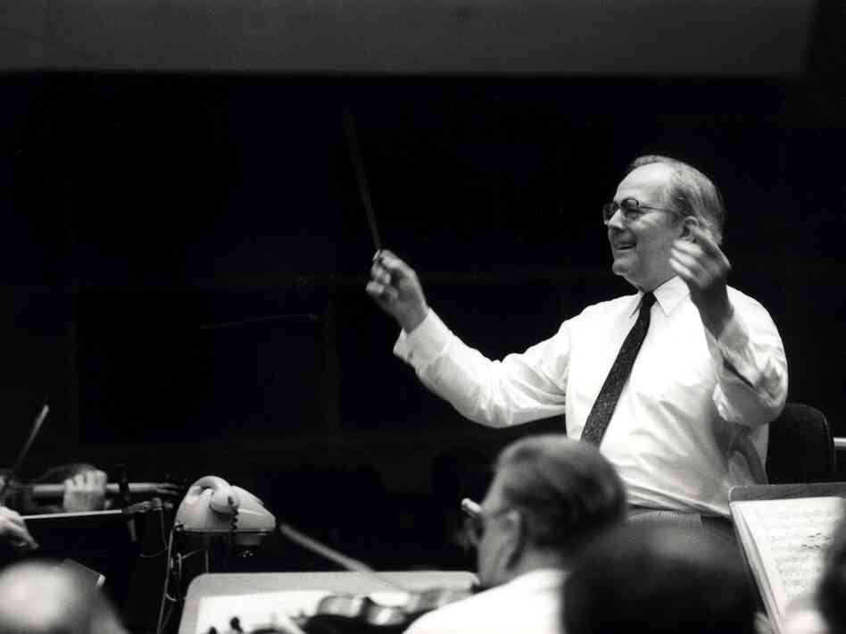 The late conductor Wolfgang Sawallisch, captured in rehearsals for a recording of Wagner's Die Meistersinger.
