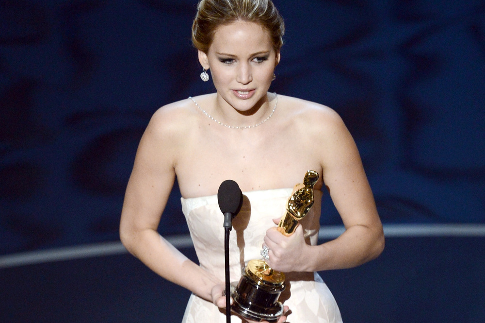 Jennifer Lawrence accepts the Oscar for best actress for her performance in