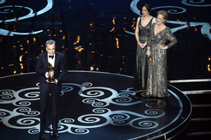 Daniel Day-Lewis accepts the Oscar for best actor for his role in
