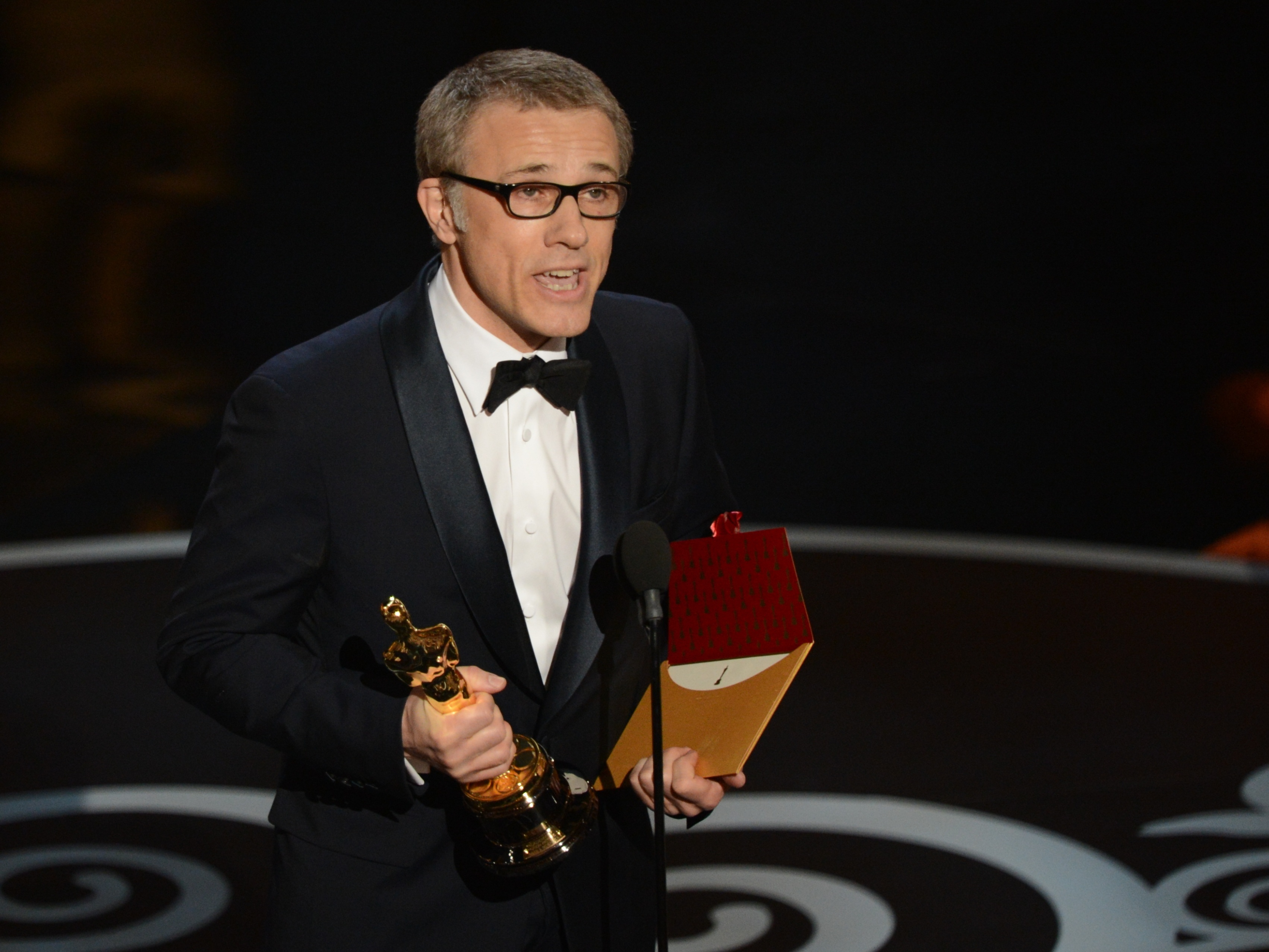 Christoph Waltz accepts the Oscar for best supporting actor in Django Unchained.