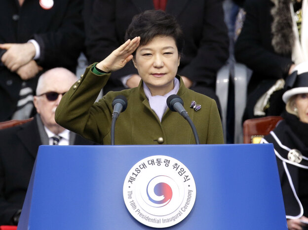 President Park Geun-hye salutes during her inauguration ceremony at the National Assembly in Seoul on Monday.