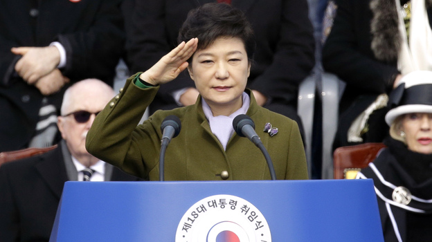 President Park Geun-hye salutes during her inauguration ceremony at the National Assembly in Seoul on Monday. (Associated Press)