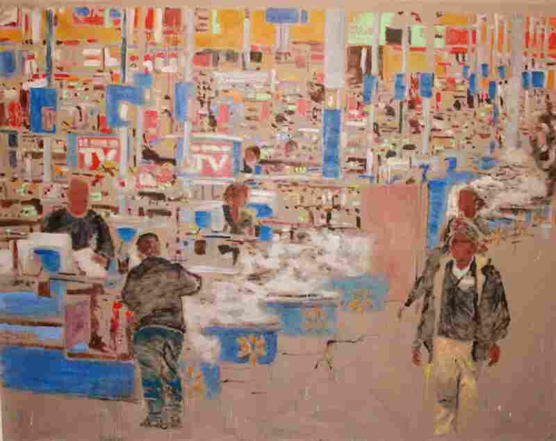 "Checkout 78"" x 108"" — based on an image of the checkout aisle of the North Bergen, N.J., Wal-Mart."