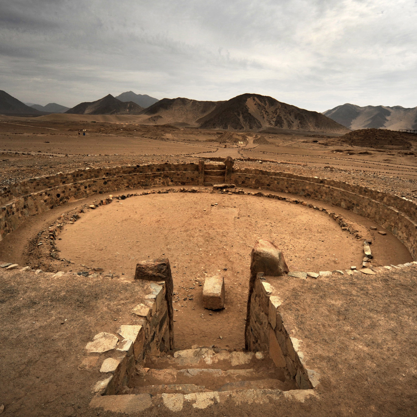 A view of one of the ceremonial plazas at the Caral-Supe archaeological site.