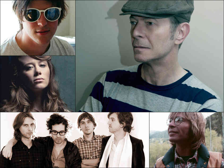 Clockwise from upper left: Nathan Williams of Wavves, David Bowie, John Denver, Phoenix, and Kanene Pipkin of Lone Bellow