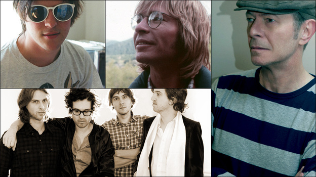 Clockwise from upper left: Nathan Williams of Wavves, David Bowie, John Denver, Phoenix, and Kanene Pipkin of Lone Bellow (Courtesy of the artists)