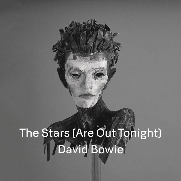 Cover art for Stars Are Out Tonight, a creepy black-eyed sculptured alien/androgynous bust in black and white