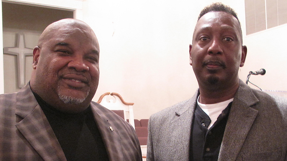 Ernest Montgomery (right), the Calera, Ala., city councilman at the heart of the Supreme Court case, with his pastor, the Rev. Harry Jones. Both men say the Voting Rights Act is still necessary in Alabama. (NPR)