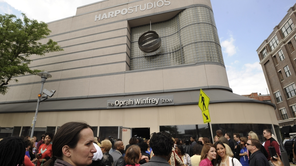 Members of the studio audience wait outside Harpo Studios before the final taping of The Oprah Winfrey Show in Chicago in May 2011. (AP)