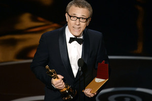 Actor Christoph Waltz accepts the Oscar for best supporting actor for his role in