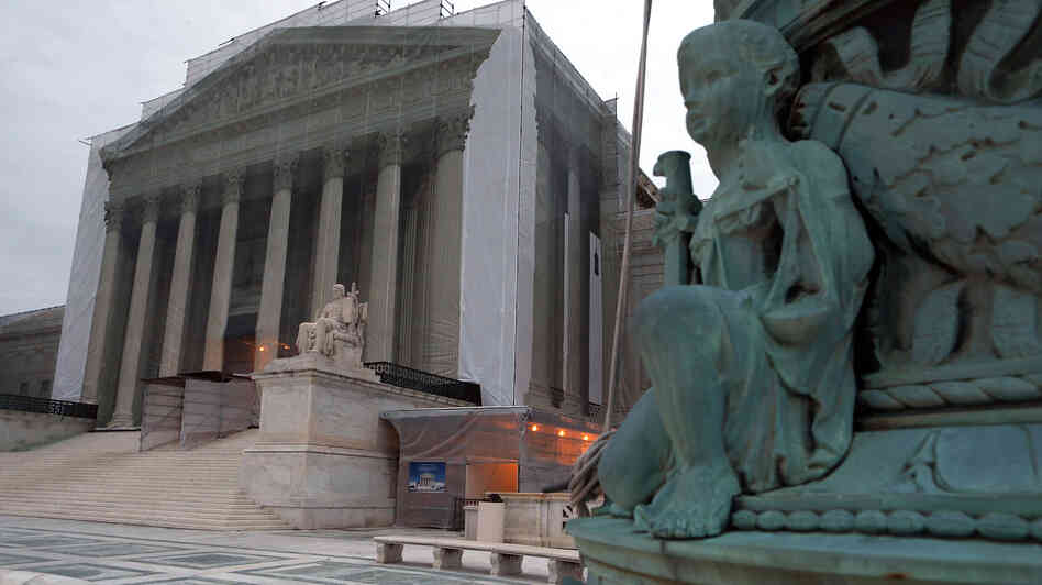 The Supreme Court denied the petition of businessmen who say the 2010 Citizens United ruling makes it legal for corporations to contribute directly to candidates. The court building is seen here during renovations in December.