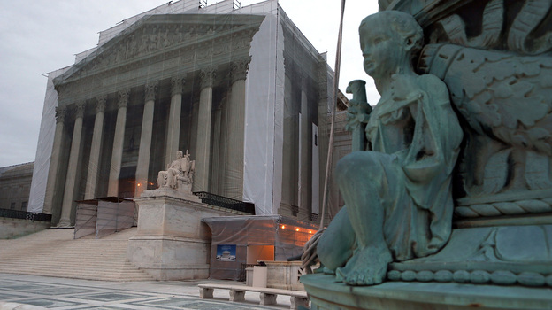The Supreme Court denied the petition of businessmen who say the 2010 Citizens United ruling makes it legal for corporations to contribute directly to candidates. The court building is seen here during renovations in December. (Getty Images)