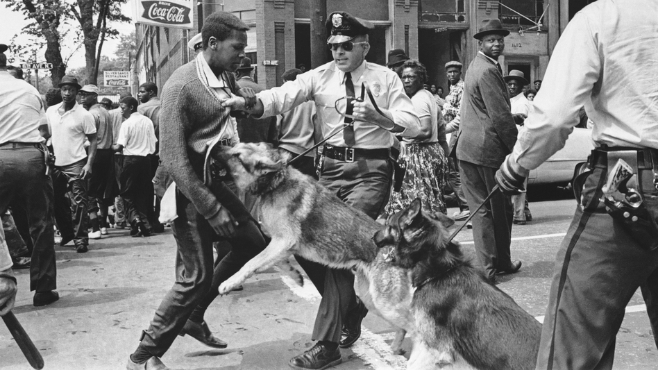 A young demonstrator is attacked by a police dog in Birmingham, Ala., in May 1963. Scenes like these helped usher in the nation's landmark civil rights law, the 1965 Voting Rights Act. The Supreme Court will hear arguments Wednesday over a key provision of the law. (AP)