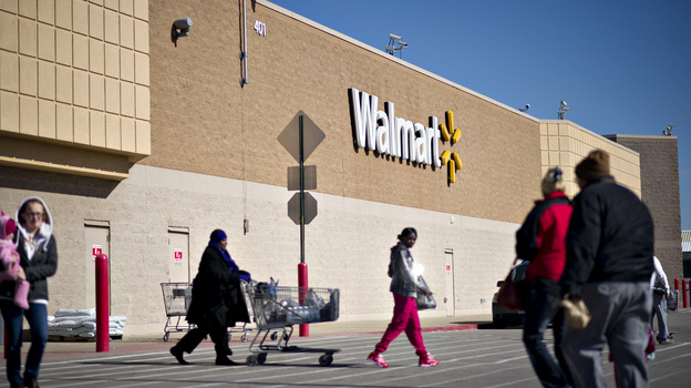 Wal-Mart is one of several large retailers that say an increase in the payroll tax may hurt U.S. sales in the months ahead. (Bloomberg via Getty Images)
