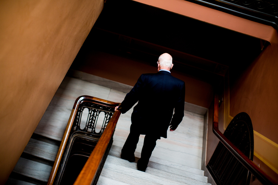 Despite his age, Risser takes the stairs every day and advises freshmen legislators to do the same. (Narayan Mahon for NPR)