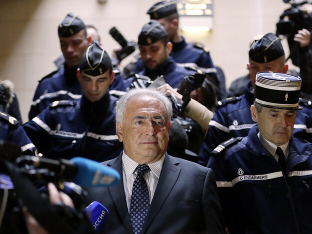 Disgraced former IMF chief Dominique Strauss-Kahn leaves court in Paris Tuesday after attending a hearing regarding his seizure request for a new book by Argentinian-born Marcela Iacub detailing their liason.