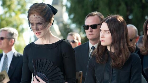 Evelyn and India Stoker (Nicole Kidman and Mia Wasikowska) slowly descend into icy p