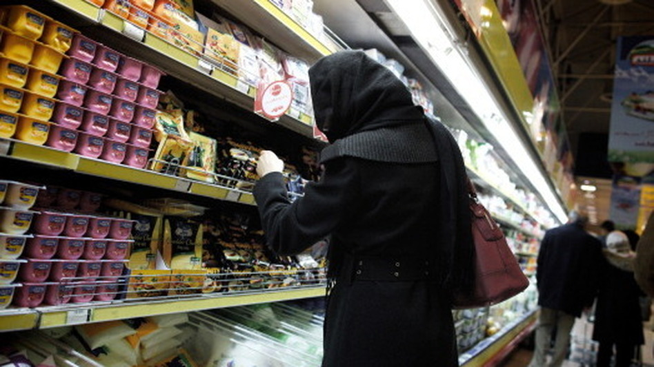 An Iranian woman shops at a supermarket in the capital, Tehran, on Feb. 22. International sanctions have hurt Iran's economy, but prospects for a breakthrough on Iran's nuclear program are dim as negotiators meet in Kazakhstan. (AFP/Getty Images)