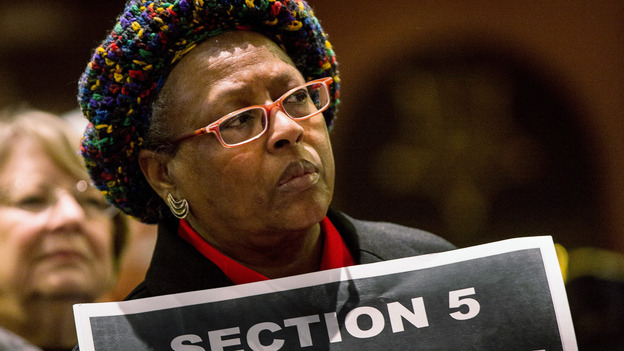 A supporter of the Voting Rights Act attends a rally Columbia, S.C., on Tuesday. (Getty Images)