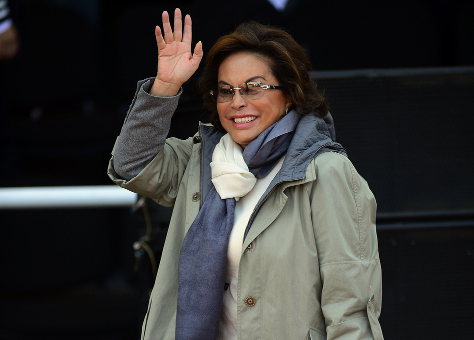 Elba Esther Gordillo waves during the ceremony of the National Police Day in Mexico City, on June 2, 2012. (Alfredo Estrella /AFP/Getty Images)