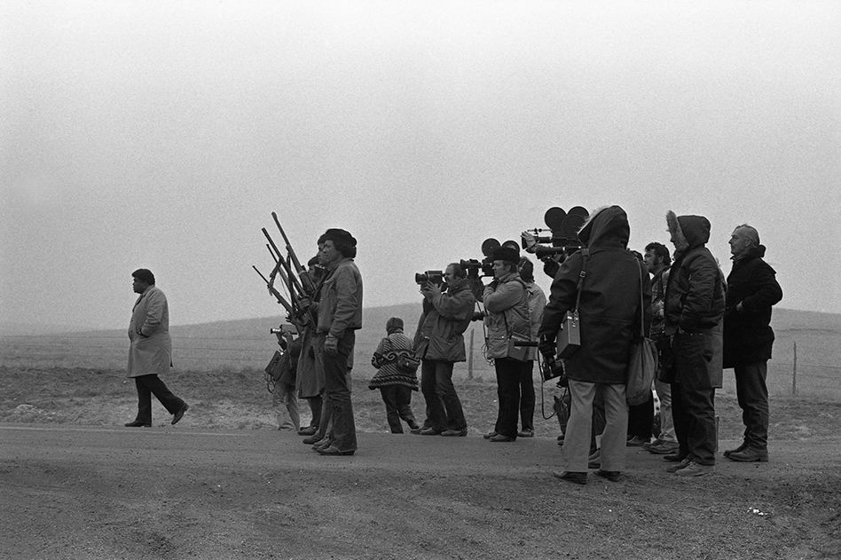 The press at Wounded Knee