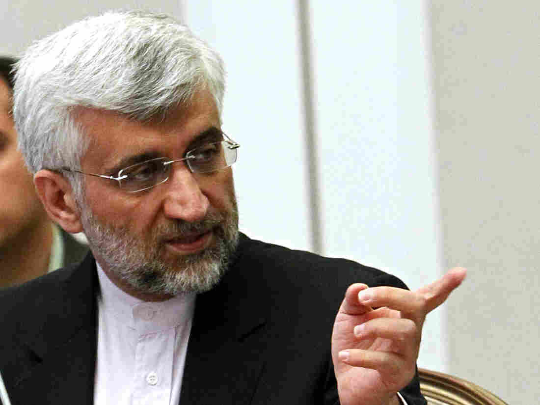 Iran's Supreme National Security Council Secretary and chief nuclear negotiator Saeed Jalili speaks during talks in Almaty, Kazakhstan, on Wednesday.