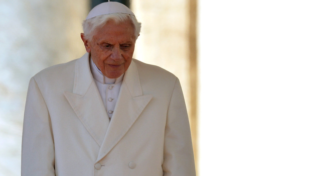 Pope Benedict XVI as he arrived on the altar in St. Peter's Square Wednesday for his last general audience. (AFP/Getty Images)