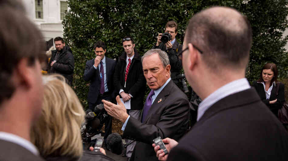 New York City Mayor Michael Bloomberg speaks to the media outside the White House after meeting with Vice President Joe Biden on Wednesday to discuss the administration's proposals to reduce gun violence.