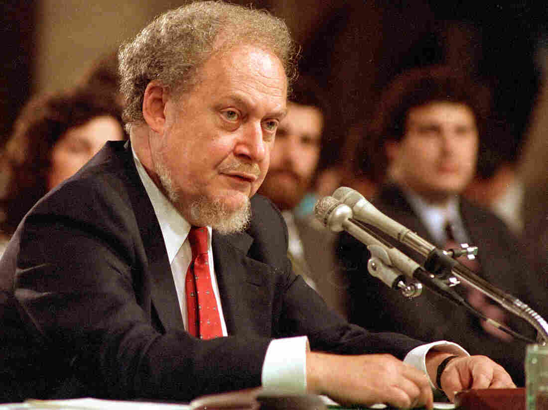 Judge Robert Bork in September 1987, at the Senate hearin