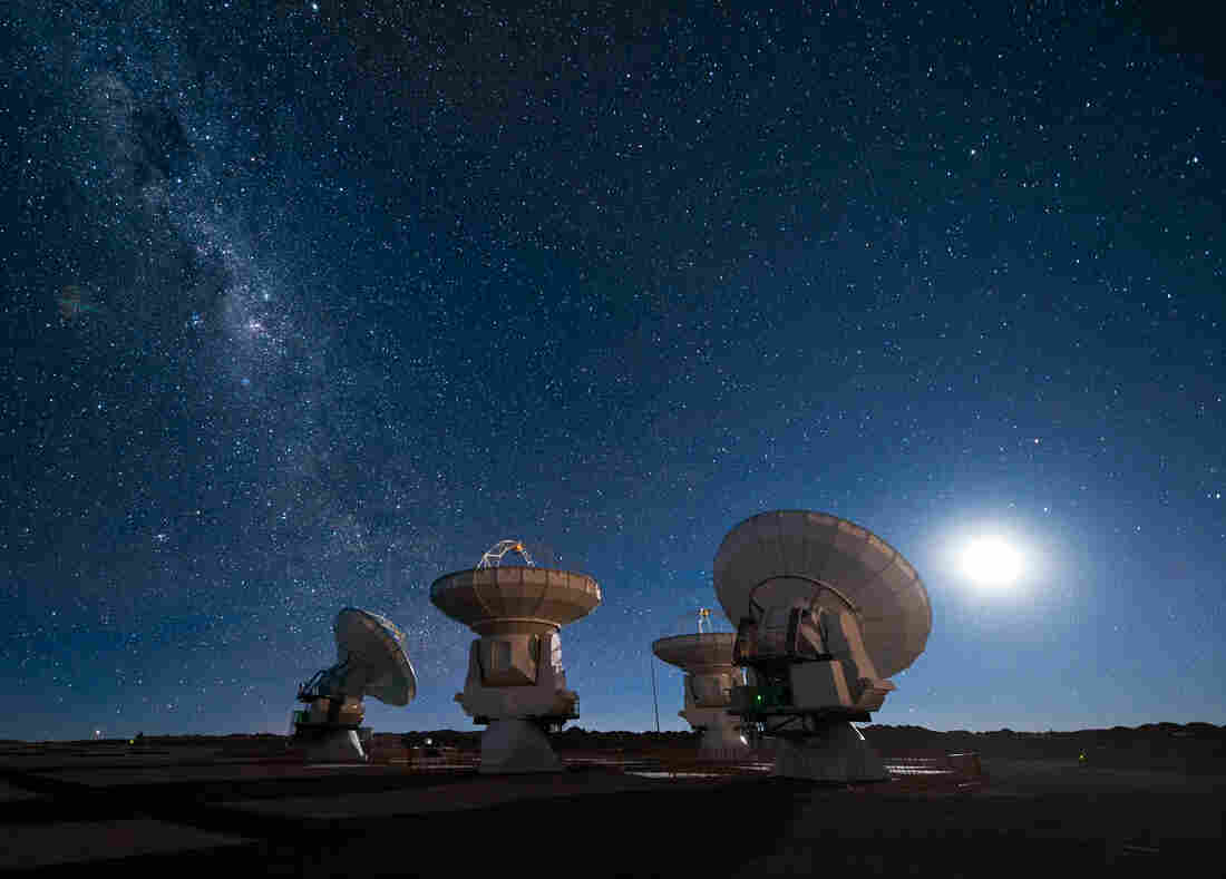 Don't panic! The end of the Universe (as we know it) isn't likely to hit us for billions of years, if it comes at all. Pictured: the Milky Way rises above the ESO's ALMA facility in Chile.