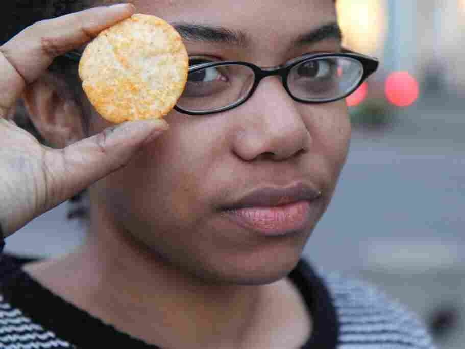 Youth Radio reporter Chantell Williams likes to munch on Popchips, which are marketed as a healthy snack.