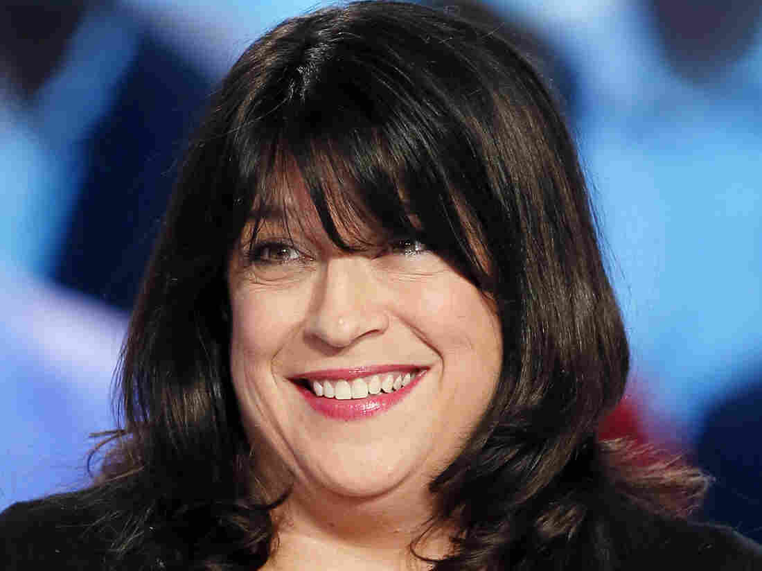 Fifty Shades of Grey author E.L. James on the set of the French TV show Le Grand Journal.