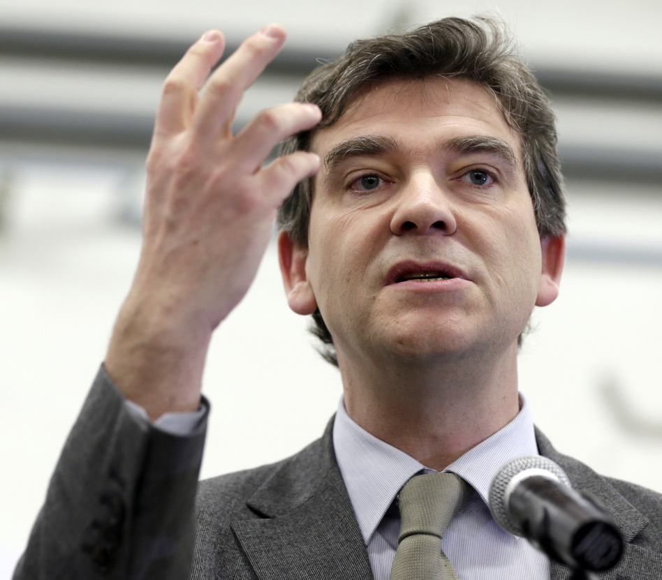France's socialist Minister for Industrial Renewal Arnaud Montebourg, shown here on Feb. 18, responded strongly to Taylor's criticism. (AFP/Getty Images)