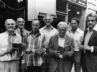 The Great Train Robbers (from left): Buster Edwards, Tom Wisbey, Jim White, Bruce Reynolds, Roger Cordrey, Charlie Wilson and Jim Hussey, with copies of their book The Train Robbers in 1979.
