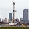 A natural gas drilling rig just east of downtown Fort Worth, Texas. A new decade-long study finds the region's Barnett Shale formation has sufficient gas reserves to last another 25 years.