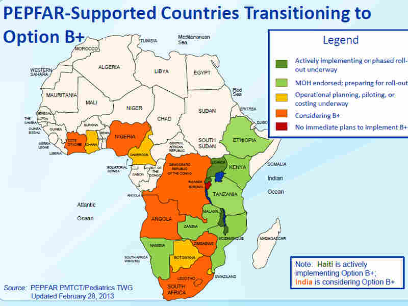 Where is Option B+? Several countries in sub-Saharan Africa, like Zambia, Kenya and Tanzania, are already planning to implement the program. The U.S. government funds Option B+ through the President's Emergency Plan for AIDS Relief.