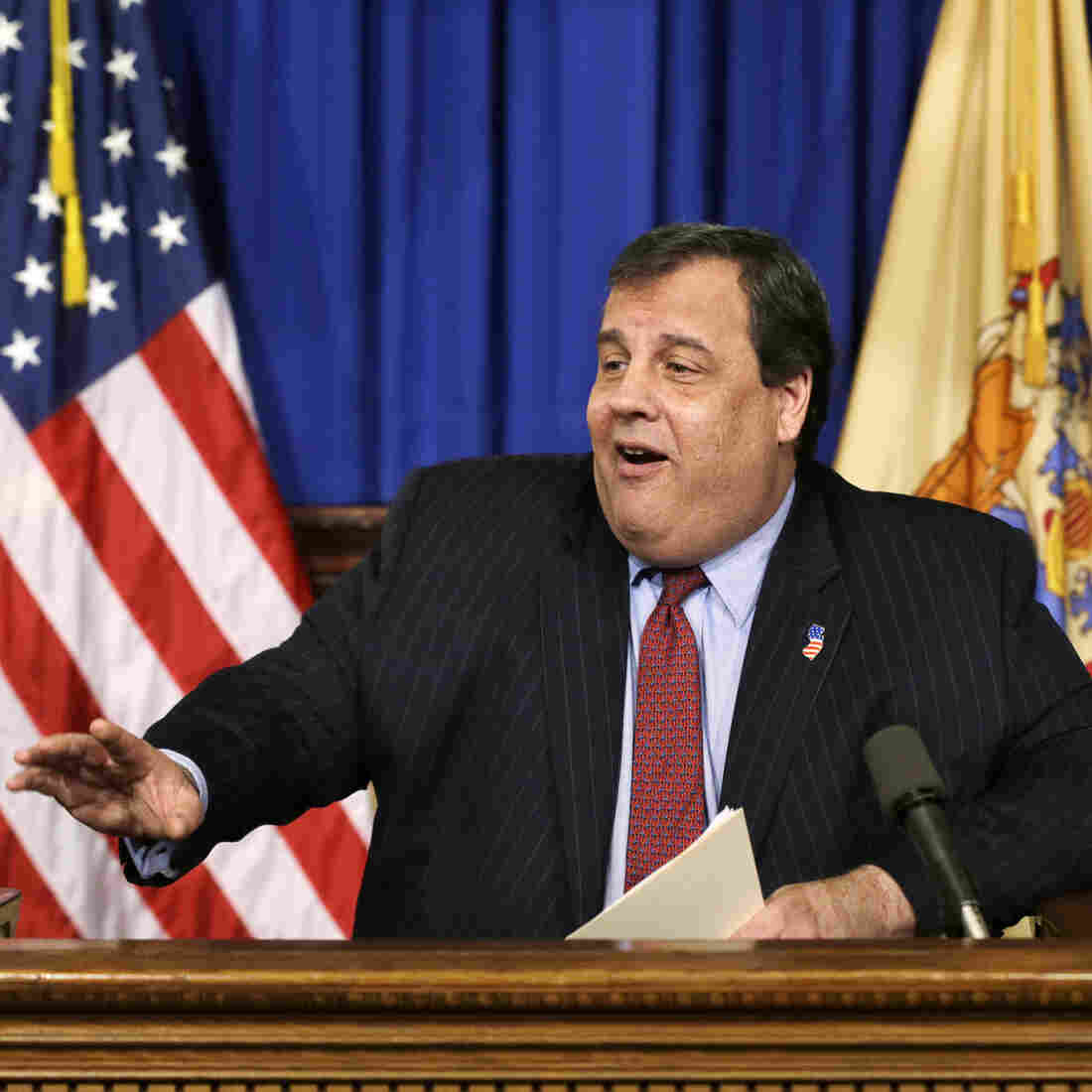Republican New Jersey Gov. Chris Christie speaks with reporters in Trenton, N.J., this month. Christie was not invited to this year's CPAC conference.