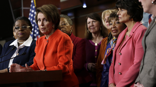 House Minority Leader Nancy Pelosi discusses the Violence Against Women Act on Capitol Hill on Thursday. The House passed the measure, which could help curb violence on campus. (AP)