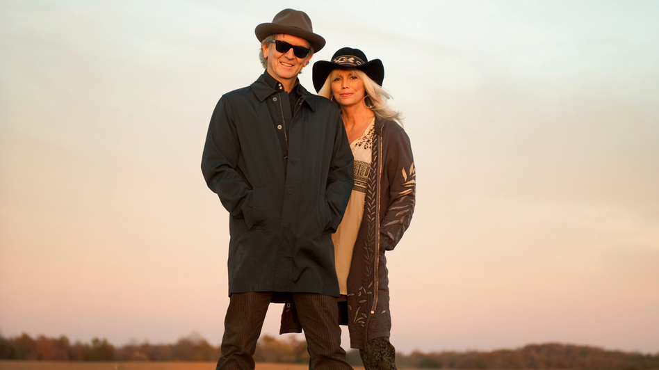 Rodney Crowell and Emmylou Harris' new collaborative album is titled Old Yellow Moon. (Courtesy of the artist)