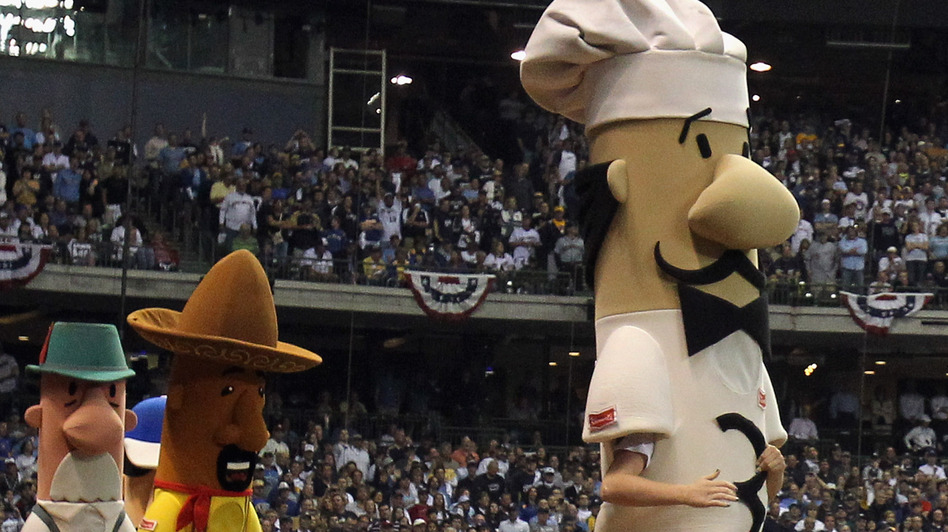 Guido the Racing Italian Sausage in action during Game Two of the National League Championship Series between the St. Louis Cardinals and the Milwaukee Brewers in 2011.
