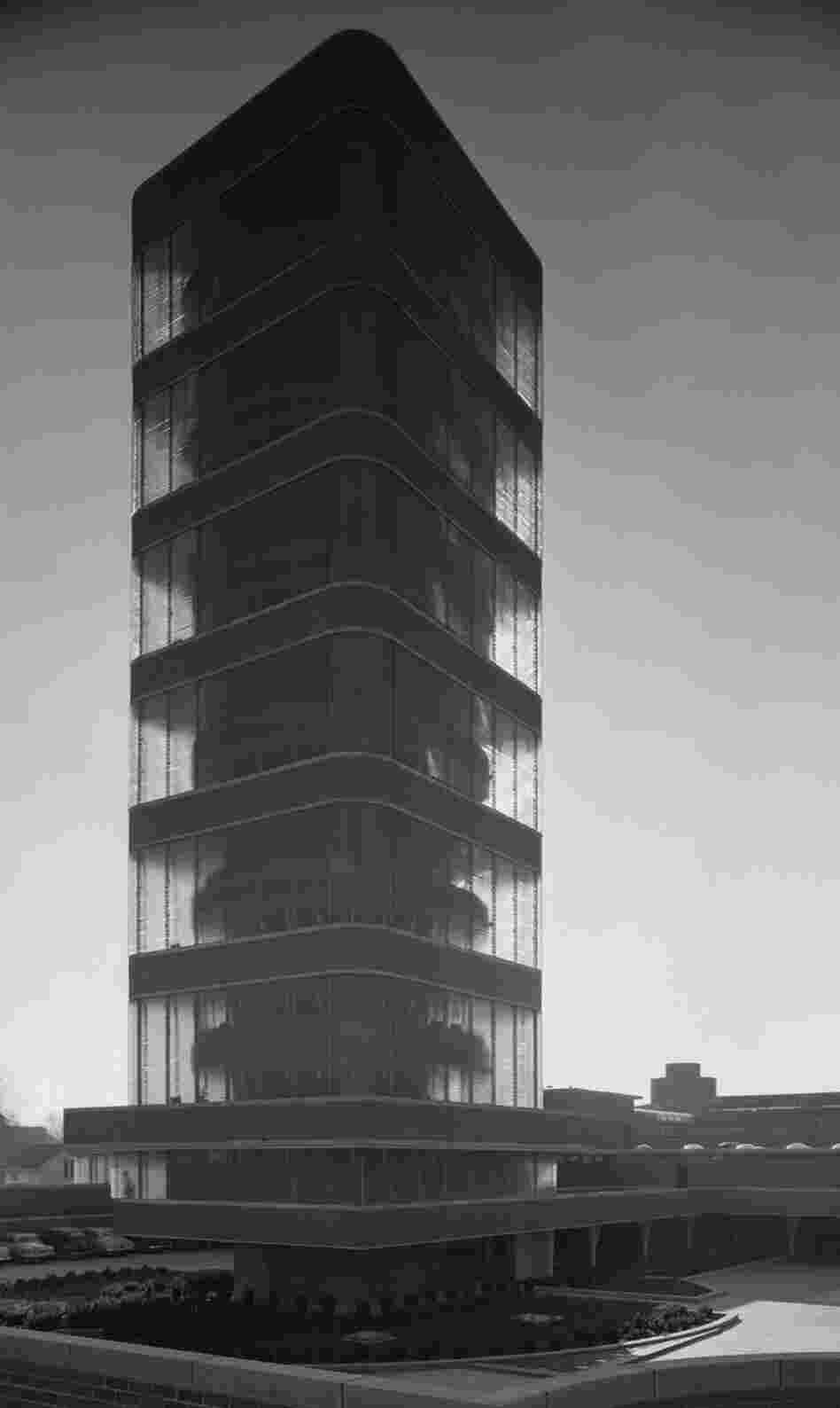 Johnson Wax Tower, Frank Lloyd Wright, Racine, Wis., 1950