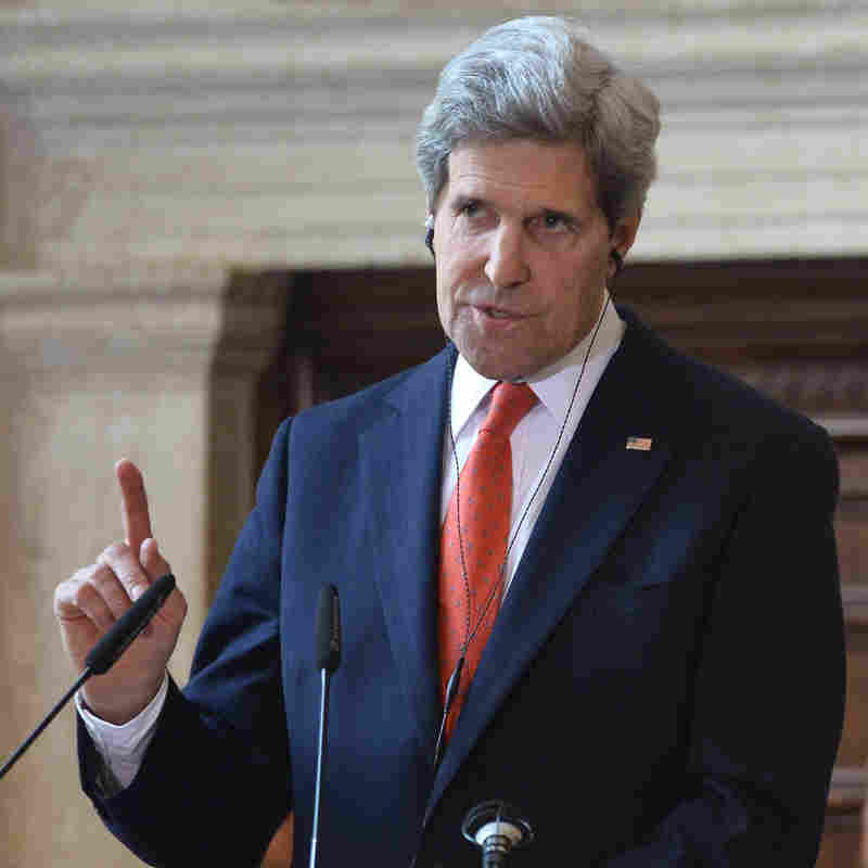 Secretary of State John Kerry during a news conference Thursday in Rome.