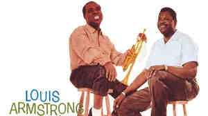 Detail from the cover art to Louis Armstrong Meets Oscar Peterson.